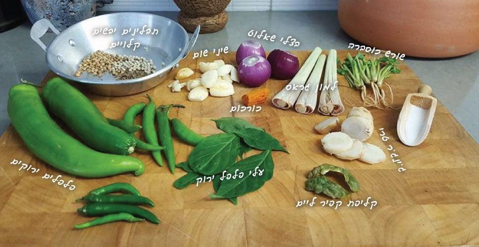 מצרכים להכנת משחת קארי ירוק