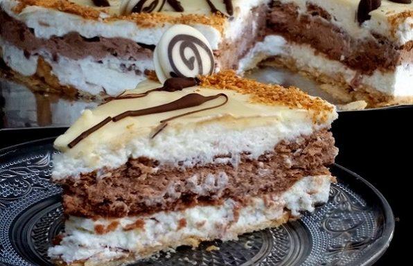 עוגת ביסקוויטים וקוקוס חגיגית ללא אפייה